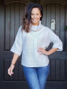 Grey Short Sleeve Cowl Neck Knit Sweater