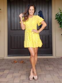Yellow Polka Dot Ruffle Hem & Sleeve Belted Tie Dress