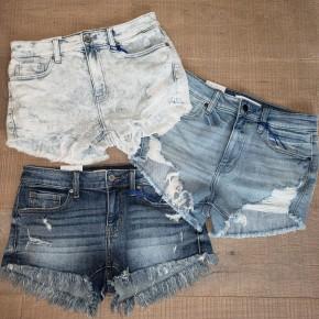 Destroyed & Frayed Hem 5 Pocket Denim Shorts