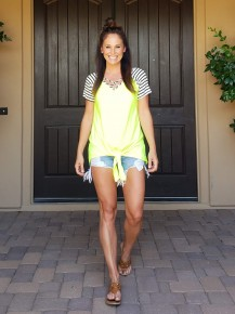 Neon Yellow Tie Front Top with Black & White Strip Tee Sleeves and criss cross V-Neck.