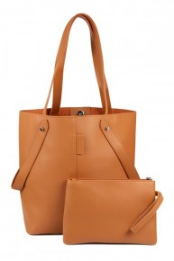 Camel Faux Leather Tote Bag with Zipper Pouch