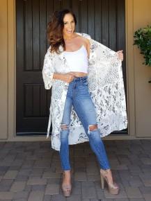 White Floral & Lace Long Sleeve Open Front Tie Waist Kimono