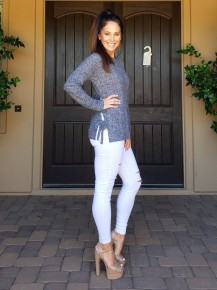 Navy Tie Side Detail Long Sleeve soft Knit Sweater