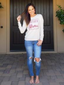 Grey Fuzzy BLESSED MAMA Long Sleeve Sweatshirt