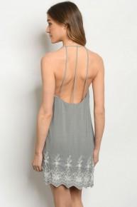 Grey Embroidered Detail  3 Strap Cage Back V-Neck Tunic Dress