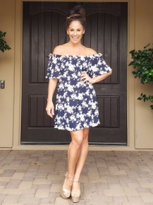 Navy & Off White Floral Off the Shoulder Tunic Dress