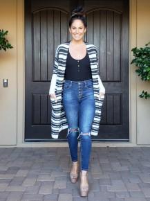 Charcoal & Ivory Stripe Long Sleeve Open Front Fuzzy Sweater Knit Long Line  Cardigan