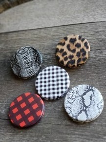 Plaid Printed Faux Leather Compact Face Mirror