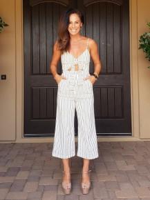 White & Black Pin Stripe Front Tie Stretch Pocket Jumpsuit