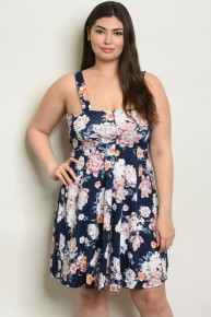 #CURVY #PLUS Navy Floral Sleeveless Scoop Neck A Line Floral Dress