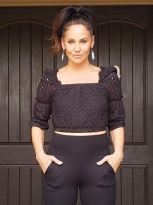 Black Eyelet Lace Puff & Ruffle Sleeve Cropped Top