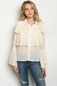 Cream Vintage Lace Bell Sleeve Semi Sheer Blouse