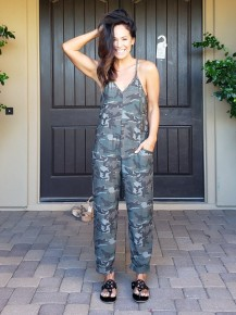 Green Camo Spaghetti Strap Racer Back Pocket Jumpsuit