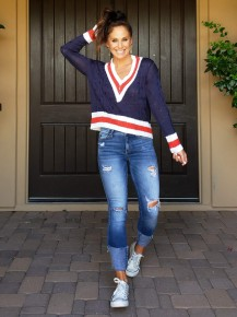Navy, White & Coral Long Sleeve V-Neck Cable Knit Semi-Cropped Varsity Sweater