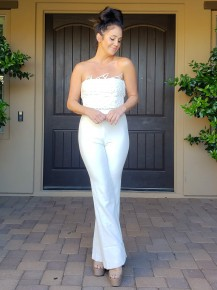 White Lace Crochet Bodice Strapless Zip Up Back Jumpsuit