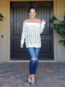 Ivory Off the Shoulder Boat Neck Long Sleeve Knit Sweater