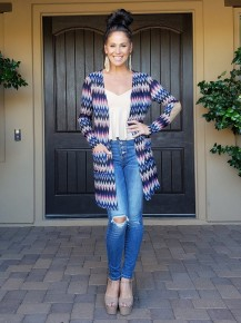 Navy Multi Print Elbow Patch Button Back Detail Cardigan