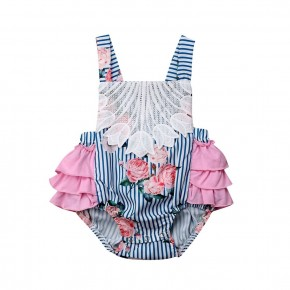 Pink Ruffle Bottom Stripe & Floral Baby Bubble Romper