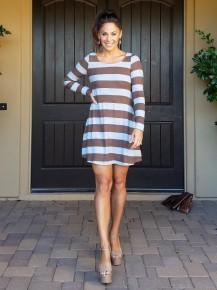 Brown & Grey Stripe Elbow Patch Super Soft Sweater Dress