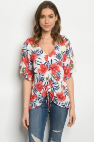 Red White & Blue Floral Cinch Front Blouse