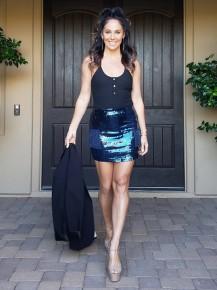 Navy Fitted Waist all over Sequin Mini Skirt