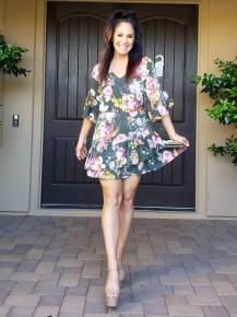 Hunter Green Floral Ruffled Bell Sleeve and Hem Dress