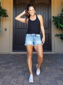 Light/Medium Wash KanCan Hazel High Rise Distressed Shorts (9.5 i rise - 3.5 inch inseam)