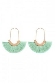 Mint Tassel Arc Hoop 2.5 inch Drop earrings