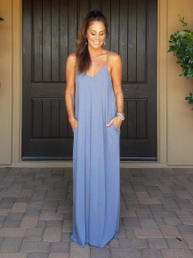 Cement Premium Jersey Knit Fabric V Neck Cami Maxi with Adjustable Straps & Pockets