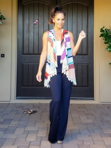 Lilac Multi Color Stripe Sleevelese Lace Trim Duster