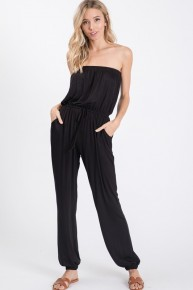 Black Strapless Drawstring Waist Jersey Knit Jogger Style Jumpsuit