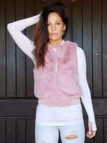 Mauve Sleeveless Zip Up Faux Fur Vest