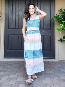 Teal Pink & Grey Sleeveless Elastic Waist Maxi Dress with PPCKETS