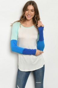 Ivory and Blue Color Block Sleeve Jersey Knit Long Sleeve Tee