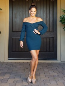 Dark Teal Bubble Sleeve Off the Shoulder Fitted Bodycon Dress