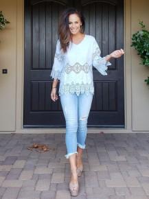 Blue Long Sleeve V-Neck Crochet Lace 3/4 Sleeve Tunic Top