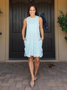 Sage & White Polka Dot Knee Length Pocket Dress