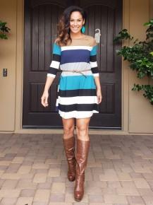 Teal Multi-Color Stripe 3/4 Sleeve Belted Dress
