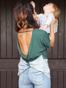 Hunter Green & Grey Twisted Backless Top