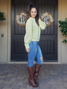 Lemon Yellow Long Sleeve Mock Neck Knit Pullover Sweater