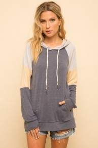 Dusty Navy Soft Touch Color Block Kangaroo Pocket Hoodie