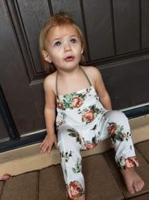 Baby & Kids Cream Floral Halter Jumpsuit