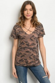 Rusted Camo Criss Cross V-Neck Tee