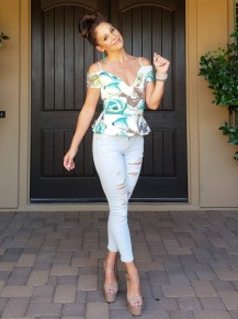 Off White  & Mint Floral Fitted Peplum Cold Shoulder Top