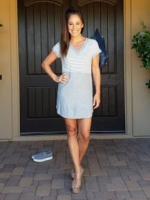 Grey & White Stripe Waffled Jersey Knit V Neck Dress