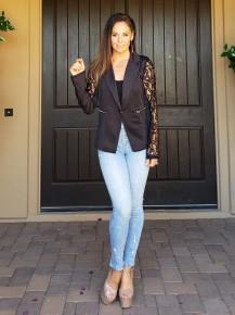 Black Long Lace Sleeve 1 Button Satin Blazer