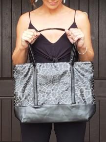 Grey & Black Leopard Print Tote Bag