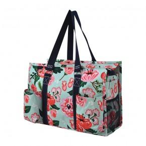 Floral Blossom Zippered Caddy Organizer Tote Bag