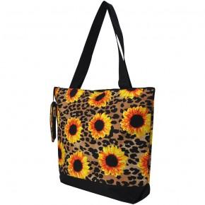 Leopard Sunflower Canvas Tote Bag