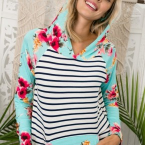 Summer Floral and Striped Hoodie